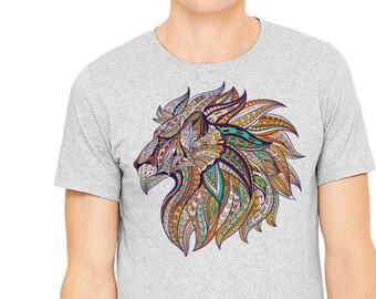Lion t-shirt, Gray T-shirt,Men's t-shirt, image of a tattoo-like Lion printed on athletic gray t-shirt