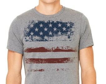 July 4th T-shirt, Gray T-shirt,Men's t-shirt, Patriotic shirt, American flag, American flag shirt, fourth of july, USA, US flag, Flag shirt