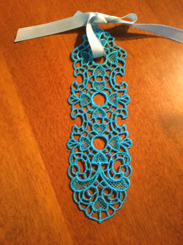 Stand Alone Lace Embroidery Designs : Bookmark lace desk accessory grosgrain ribbon