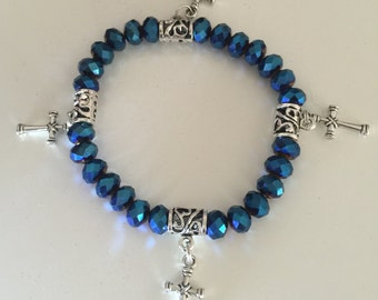 Blue Crystal stretch bracelet