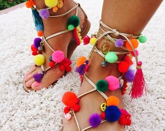 Ibiza Pom Pom Sandals, Boho Lace Up Sandals, Pom Pom Sandals, Greek Sandals, Gladiator Sandals, Strappy Sandals