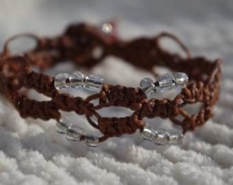 Macrame Bracelet, friendship bracelet, beaded bracelet, loop and bead finish, braided bracelet, woven bracelet
