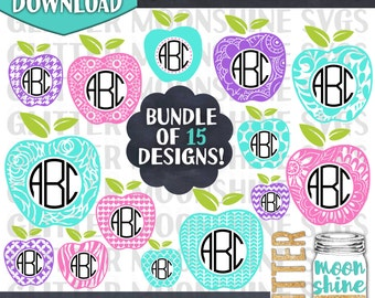 Apple Monogram Frame Bundle svg eps png dxf cutting files for silhouette cameo cricut, Teacher svg, Teaching svg, Back to School, Circle