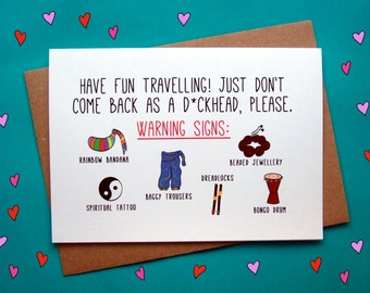 Funny Gap Year Card, Travelling Card, Bon Voyage Card, Leaving Card, Good Luck Card, Funny Card