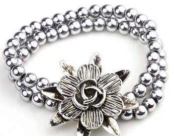 Magnetic hematite bracelet silver plated with flower