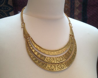 Tribal Engraved Silver/Gold Necklace