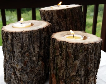 Set of 3 Oak Log Candle Holders