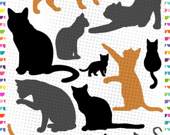 Cat Silhouettes, Cat svg - Kittens Silhouettes - Silhouette Design, Cricut Design – svg eps jpg dxf and png - Cut Files