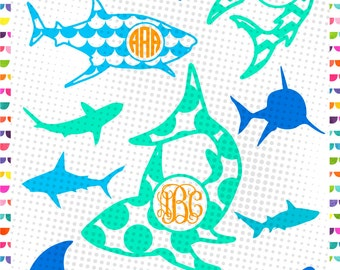 Shark SVG Monogram Frames - cut file - Shark Jaws Cutting Files for Cricut Silhouette - shark clipart - Jpg, Png, SVG dxf EPS Files
