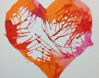 Love Burst Watercolour Print Card -BLANK INSIDE
