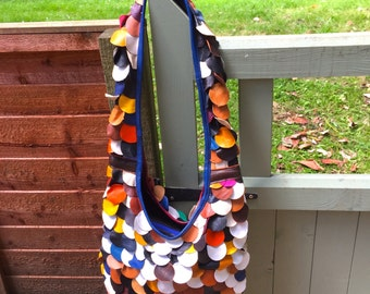 Real Leather Handbag - Multicoloured