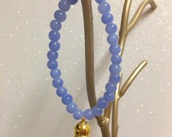 Lavender Beaded Bracelet with Tassel