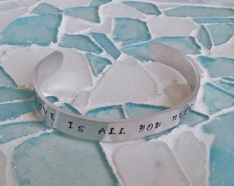 Love is all you need/Bracelet/Cuff/Bangle/Hand stamped jewelry