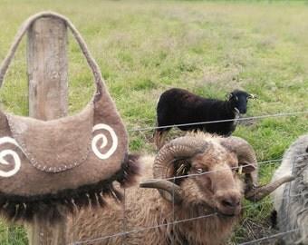 Wet felted Icelandic sheep fleece shoulder bag