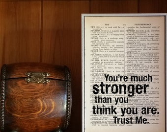 """Motivational Quote. """"You're Stronger Than You Think You Are. Trust Me"""" Vintage Dictionary Book Page Print. Superman. Superhero Quote"""