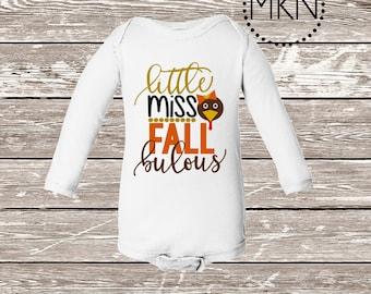 Little Miss Fallbulous Bodysuit, Thanksgiving Shirt for Baby, Cute Fall Onesie, Turkey Bodysuit, Thanksgiving Bodysuit