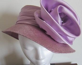 Handmade Lilac Satin flower Hat