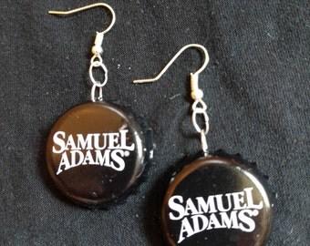 Black Sam Adams Bottle Cap Earrings