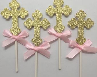 Baptism-Christening-Communion Cross Cupcake Toppers