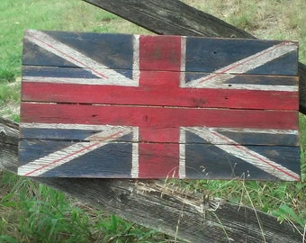 Union Jack Flag, Wood Union Jack Flag, British Flag, Wood British flag, Great Britain Flag