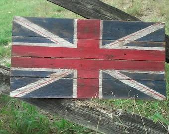 Union Jack Flag, Wood Union Jack Flag, British Flag, Wood British flag, Great Britain Flag