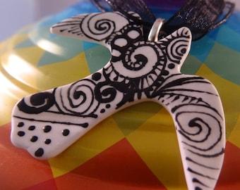 Porcelain Bird Pendant
