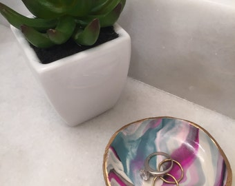 Custom Clay Marble Jewelry Dish - Handmade Ring Dish - Gold - Bridesmaid gift - Gift for Girls - Bridal Shower Gift - Christian Company