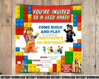 Customizable Lego Theme Birthday Invitation - INSTANT DOWNLOAD