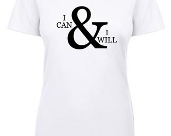 i can & i will crew neck tee - white