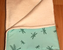 Green Baby blanket,ultra cuddly quality organic cotton,newborn gift,baby shower gift,dragonfly blanket,baby accessories,warm for winter