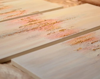 gold leaf neutral/pinks abstract paintings