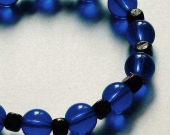 Blue and Brown Stretchy Beaded Bracelet Dark Blue Navy Brown