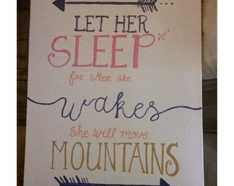 Let her sleep canvas/quote/girl/nursery/baby shower/gift/birthday/home/decor/wall art/art