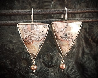 Crazy Lace Agate, Freshwater Pearls & Sterling Silver Earrings