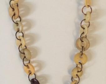 Button-up , antique copper with antique buttons necklace