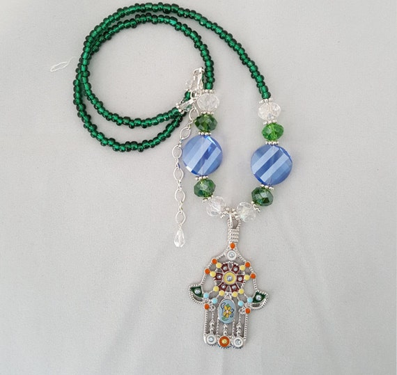 Blue and green Hamsa hand beaded necklace