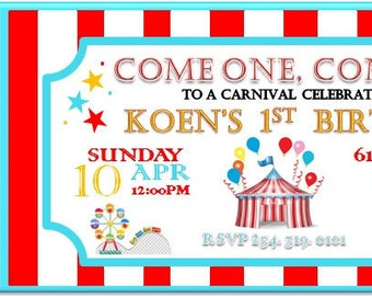 Carnival Birthday Invitation Digital Print