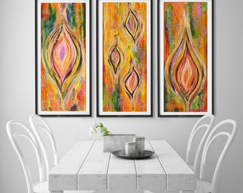 Green Wall Art triptych wall art | etsy