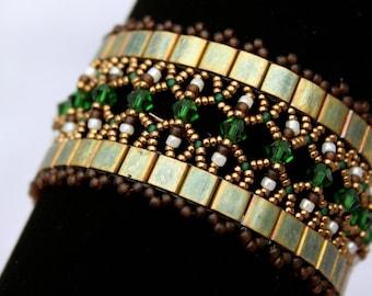 Green and Gold Tila and Swarovski Bracelet
