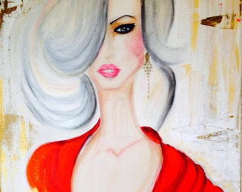 Miss Red Acrylic Painting