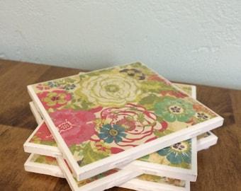 Vintage flower tile coaster