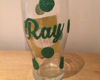 Glitter Pint Glass (Polka Dot-Name)