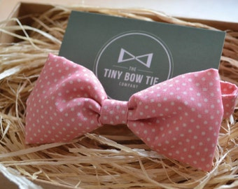 Bow Tie for Kids - Coral Polka Dot