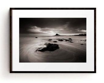 Large Wall Art Print, Coastal Wall Art, Beach House Decor, Sea Print, Seascape, Cornwall, Coastal Decor, Beach Prints, Black and White