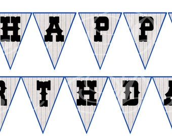 Western Cowboy Printable Happy Birthday flags/Bunting Flags/Banner/Instant Download/Printable Party Decorations by CoopsDesign