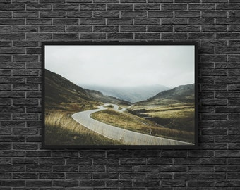 Autumn Road Photo - Road Trip Photo - Road Photography - Hills Photo - Fall Photo - Autumn Wall Art - Men Room Decor - Photography