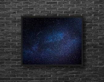 Starry Sky Photography - Blue Sky Print - Blue Wall Decor - Stars Photography - Astronomy Wall Decor - Space Wall Decor - Kids Room Decor