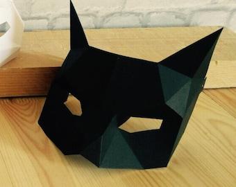 Half cat mask/DIY Cat mask/Paper cat mask/DIY mask/Fancy dress/Halloween Mask/Printable Templates/Animal Mask/Kitten Mask/