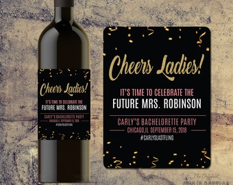 BACHELORETTE PARTY WINE Label Gifts, Party Favors, Celebrate Bride, Last Fling Before the Ring, Custom Wine Bottle Labels