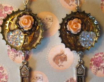 Steampunk clockwork roses earrings